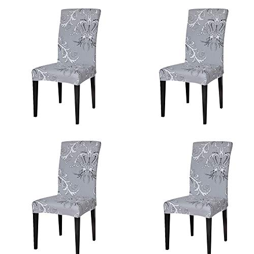 Dining Room Cotton Chair (TIKAMI 4PCS Spandex Printed Fit Stretch Dinning Room Chair Slipcovers (4, Gray))