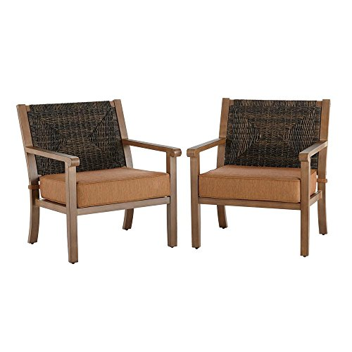 Hampton Bay Kapolei Stationary Wicker Outdoor Lounge Chair with Reddish Brown Cushion (2-Pack)