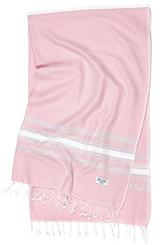 Turkish Beach Towel 100% Cotton, Helps you Pack Light, Pestemal, Oversized Boho Beach Blanket, Large Quick Drying Travel Towel, Thin Throw Blanket, Boho Towels, The Honeymooner (Rose Quartz) ()