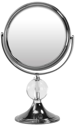 "Vanity Mirror Gun Metal with one Round All. Perfect for Your Make-up Application and Plucking Eyebrows. Switches from a Normal View on one Side to 7x1x Magnification and 6""Diameter x 10.5 Height"