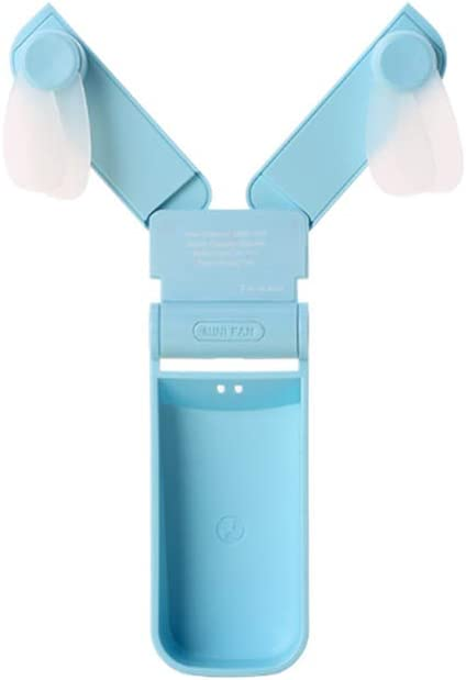Personal Handheld Fan Double-Head Folding Mini Handheld Rechargeable USB Charge Cooling Fan Cooler for Home Office Study Outdoor Travel Blue