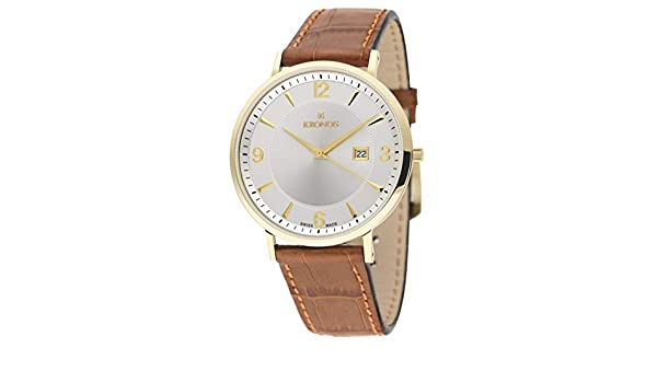 Kronos - First Class Silver 971.33 - Reloj de Caballero de Cuarzo, Correa de Piel marrón, Color Esfera: Plateada: Amazon.es: Relojes