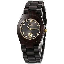 GBlife Women Wooden Watch with Classic Black Dial Golden Pointers Lightweight Handmade Casual Quartz Watch #GW02 (Ebonywood)
