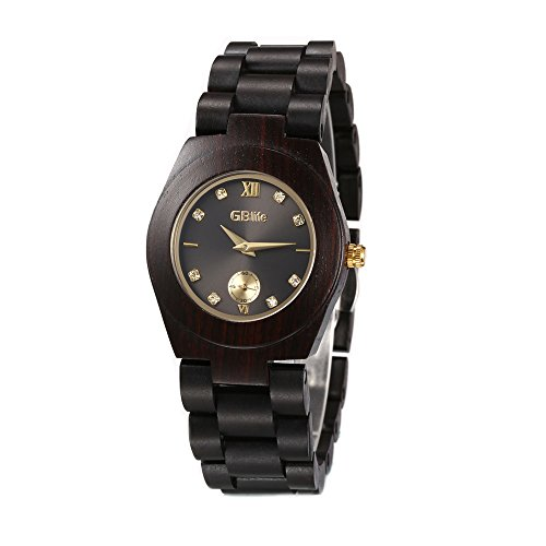 Wooden Watch Women, GBlife Natural Wood Watches with Black Dial Golden Pointers, Adjustable Lightweight Wood Band, Casual Retro Wooden Quartz Wristwatch (Ebonywood) by GBlife (Image #7)