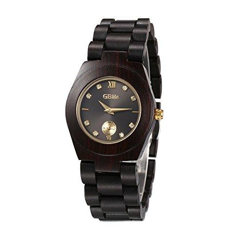 GBlife Women Wooden Watch Lightweight Handmade Retro Casual Quartz Watch