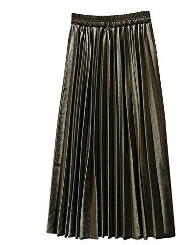 Yonglan Jupe Midi Femme Taille lastique Taille Haute Coupe Slim Jupe Rtro Jupe Plisse Vert Arme