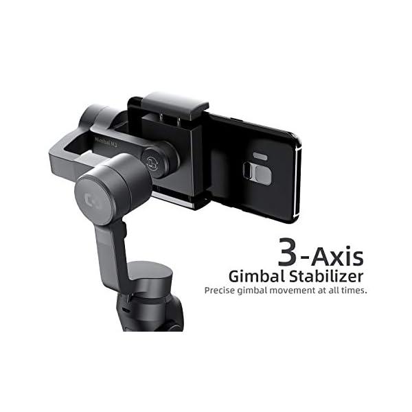 VanTop Nimbal M3 Stabilizzatore Gimbal - Stabilizzatore Smartphone a 3 Assi, 15 Ore Durata della Batteria, con Custodia Portatile e Mini Treppiede, per iPhone e Android Samsung Huawei Xiaomi 2 spesavip