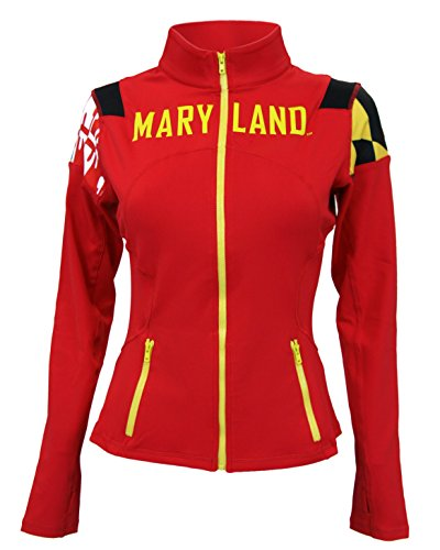 Twin Vision Activewear Maryland Terrapins NCAA Women's Yoga Track Jacket (Small) Red