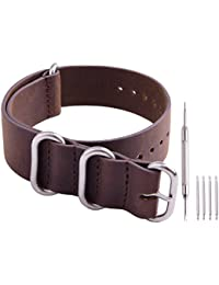 Genuine Leather NATO Strap 20mm Brown Replacement Watch Band