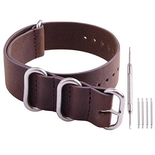 - Ritche Genuine Leather NATO Strap 20mm Brown Replacement Watch Band