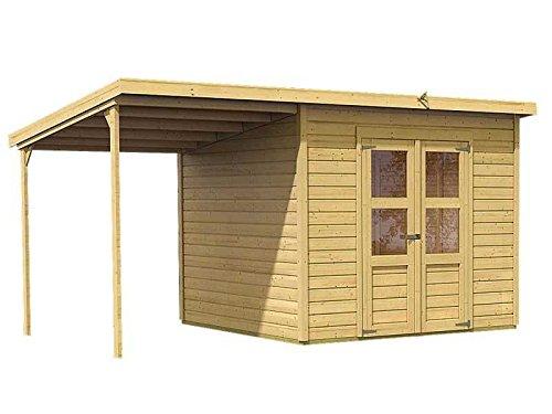 Karibu Gartenhaus Florenz 6 mit Schleppdach natur SPARSET mit selbstklebender Dachbahn
