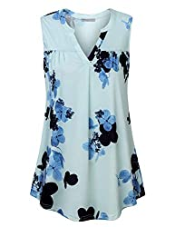 Furnex Womens Tops Work Casual Womens Sleeveless Tunic Floral Knitted Blouse V Neck Fashion Stretchy Soft Pleated Front Blouse Tops For Business Work Light Blue Xx Large