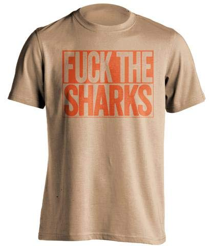 (Fuck The Sharks - Haters Gonna Hate Shirt Old Gold and Orange Versions - Box Design - OldGold - Uncensored - Large)