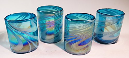 Mexican Glass Hand Blown, Turquoise & White Iridescent Swirl, Set of 4