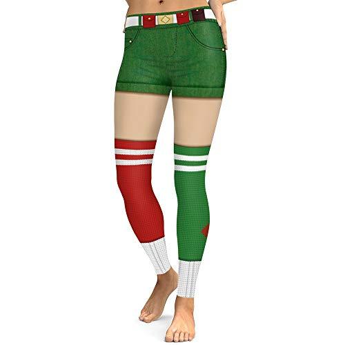POQOQ Pants Women Christmas Costume Leggings Workout Running Tights Yoga L Green -