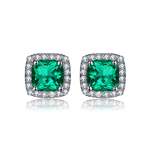 JewelryPalace Cushion 2.1ct Nano Russian Green Simulated Emerald Halo Stud Earrings For Women Solid 925 Sterling Silver