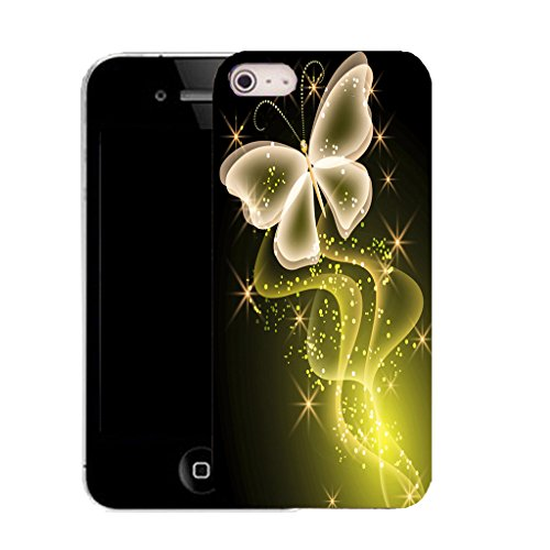 "Mobile Case Mate iPhone 6S Plus 5.5"" clip on Silicone Coque couverture case cover Pare-chocs + STYLET - yellow sparkle butterfly pattern (SILICON)"