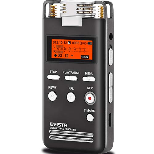EVISTR Digital Voice Recorder 8GB L53 - 1536KPBS PCM Stereo Audio Recording Device Portable Dictaphone Microphone Gain Controllable Noise Reduction