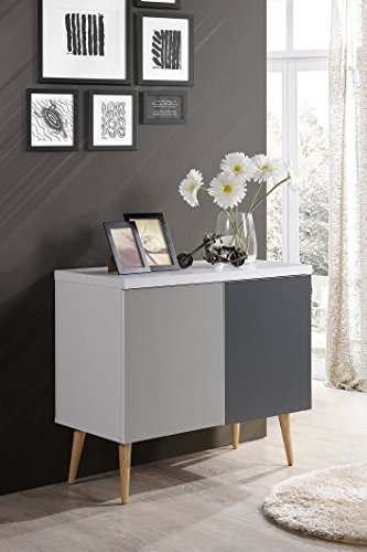 Hodedah HI690 Credenza Entry Way Accent Table, White-Grey by Hodedah (Image #1)