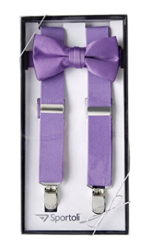 Suspenders for Kids Gift Set Wedding Tuxedo Genuine Leather Premium 1 Inch Suspender -Lavender (26 Inch) -
