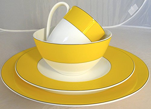 China Lenox Vibe - 16-Piece Kate Spade Lenox Rutherford Circle Yellow Pattern Dinner & Salad Plate, Bowl & Tea / Coffee Cup Set