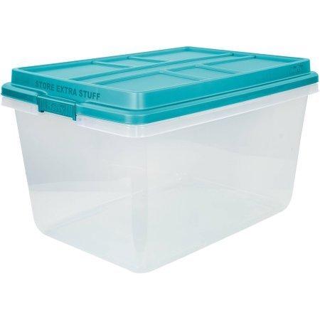 72-Qt Hi-Rise Clear Latch Box, Teal Sachet Lid and Handles, Set of 3 (Containers Quart Storage 72)