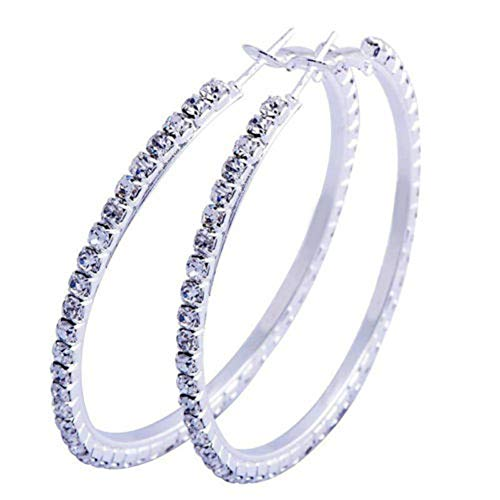 Elegant Wedding Bridal Women Large Hoop Circle Shiny Faux Rhinestones Stud Earrings yingyue -