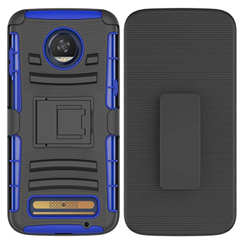 Moto Z3 Case, Moto Z3 Play Holster Case, Zoeirc [Heavy Duty] Armor Shock Proof Dual Layer Phone Protective Case Cover with Kickstand & Belt Clip Holster for Motorola Moto Z3 (Blue)