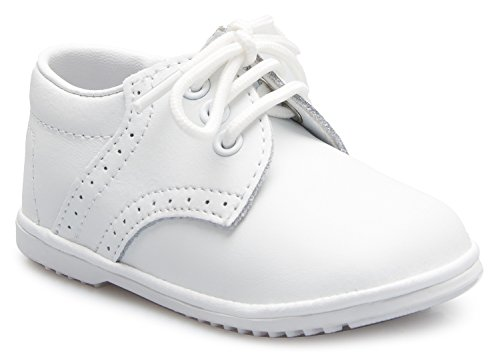 (OLIVIA KOO Baby Boys Infant to Toddler Oxford Christening Shoes White)
