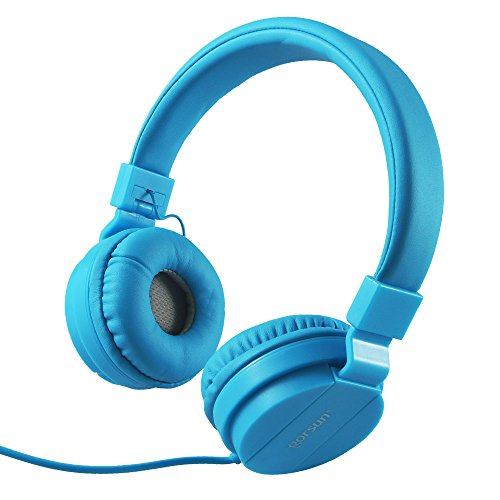 Gorsun lightweight kids stereo folding wired headphones Adjustable Headband Headset for Cellphones Smartphones Iphone Laptop Computer Mp3/4 Earphones(blue)