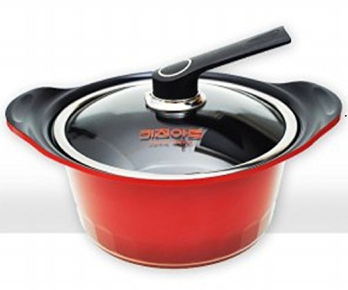 Kitchen Art S24 Ceramic Pot, Specialty Nonstick Dishwasher Safe,Pan with Glass Lid Cookware, Red