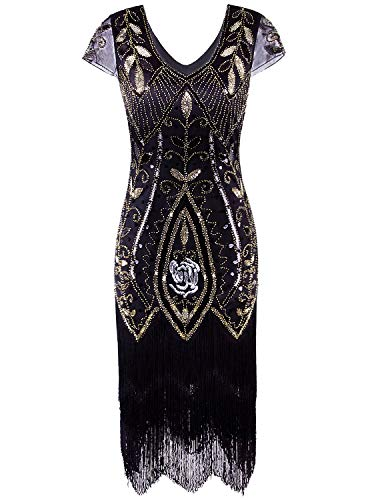 Vijiv 1920s Gatsby Sequin Embellished Fringe Cocktail Flapper