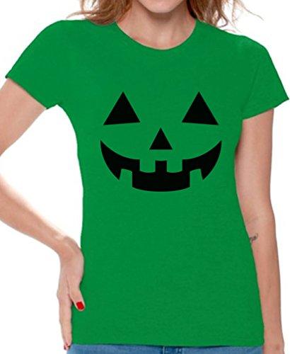 Awkward Styles Women's Jack O' Halloween Pumpkin T Shirts Tee Tops for Women Lantern Pumpkin Halloween Costume Green XL -