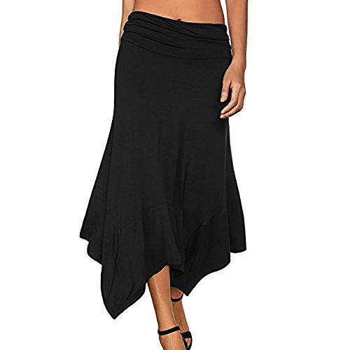 Han Shi Women Maxi Skirt High Waist A Line Front Slit Belted Long Pleated Dress (Black, ()