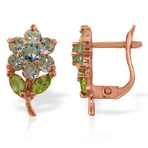 - 2.12 CTW 14K Solid Rose Gold Flowers Stud Earrings Aquamarine Peridot