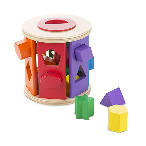Melissa & Doug Match & Roll Shape-Sorter (Classic Wooden Toy, Developmental Toy, Sturdy Wooden Construction)