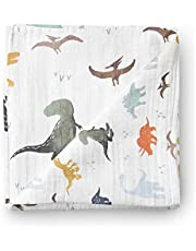 Aenne Baby Muslin Swaddle Blanket Dinosaur Dino Print, Baby Shower Gifts, Luxurious, Soft and Silky, 70% Bamboo 30% Cotton 47x47inch (1pack), Baby boy Nursing Cover, wrap, Burp Cloth Dinosaur Print
