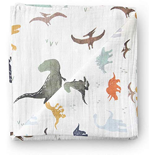 Aenne Baby Muslin Baby Swaddle Blanket Dinosaur Dino Print, Luxurious, Soft and Silky, 70% Bamboo 30% Cotton 47x47inch (1pack), Baby boy Nursing Cover, wrap, Burp Cloth