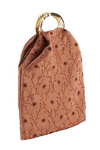 Pochette AC 316 Marrone, borsetta con manici in metallo in tessuto con ricami floreali e decorazioni in perline