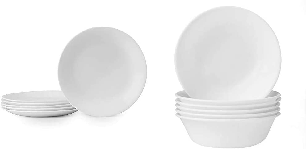 Corelle Winter Frost White Lunch Plates Set (8-1/2-Inch, 6-Piece, White) & Soup/Cereal Bowls Set (18-Ounce, 6-Piece, Winter Frost White)