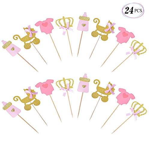 Suppar Pink and Gold Girl Baby Shower Cupcake Toppers , Gender Reveal Cupcake Toppers Decoration Baby Shower Party Supplies]()
