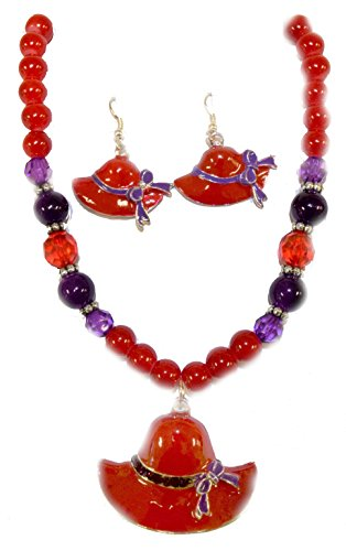 Red & Purple Beaded Necklace & Little Ha - Red Hat Necklace Shopping Results