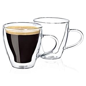 Dragon Glassware Espresso Cups, Premium Designer Glasses with Insulated Double-Walled Design, 4-Ounces, Gift Boxed – Set of 2