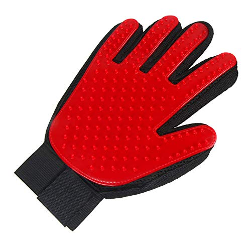 (YANGPEI Pet Grooming Gloves - Gentle Hair Removal Brush Gloves - Efficient Pet Hair Remover Gloves - Enhanced Five-Finger Design - Suitable for Dogs and Cats with Long Hair and Short Hair,Red )