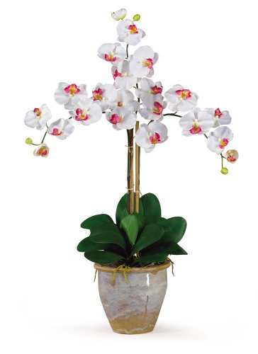 Nearly Natural 1017-WH Triple Phalaenopsis Silk Orchid Flower Arrangement, White