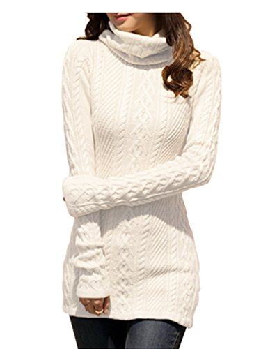 v28 Women Polo Neck Knit Stretchable Elasticity Long Slim Sweater 0-4,White