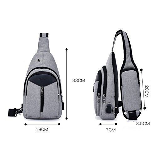 Bag Bags Usb amp; Crossbody Gray Sxelodie Daypack Rope Men Port Shoulder Women Chest Charging With Sling For Backpack 5HfWX