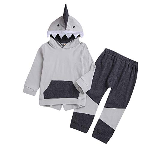 Toddler Infant Baby Boys Shark Long Sleeve Hoodie Tops Sweatsuit Pants Outfit Set (Kid Baby Shark Outfit, 2-3 T)