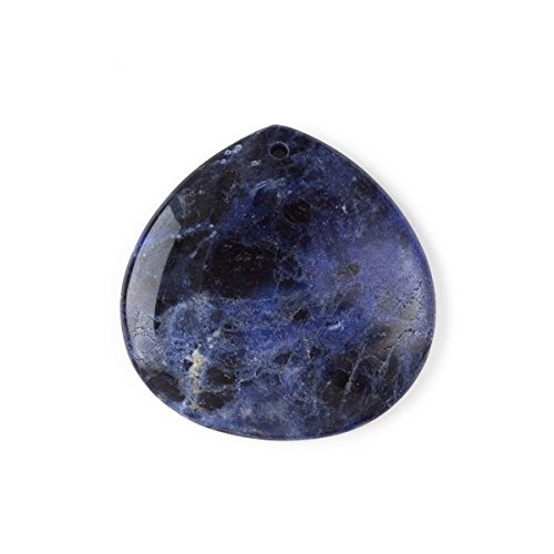 Cherry Blossom Beads Sodalite 40mm Top Front to Back Drilled Almond Pendant with a Flat Back