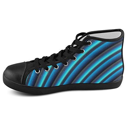 Artsadd Aangepaste Glanzende Blauwe Gradiënt Strepen Hoge Top Canvas Schoenen Voor Mannen (model002)